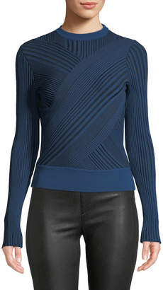 Cédric Charlier Crewneck Asymmetric-Striped Wool Sweater
