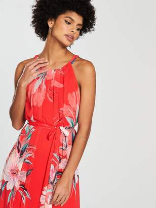 Wallis Watercolour Floral Maxi Dress - Red