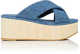 Robert Clergerie Women's Ficebt Denim Platform Slide Sandals $450 thestylecure.com