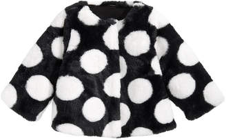 First Impressions Baby Girls Dot-Print Faux-Fur Coat