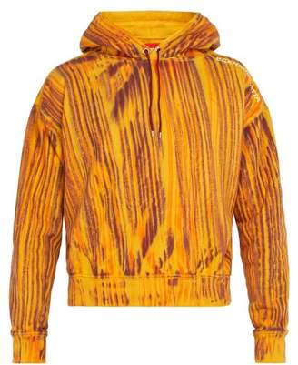 Eckhaus Latta Striped Cotton Hooded Sweatshirt - Mens - Orange