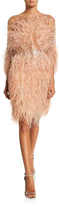 Pamella Roland Crystal & Sequined Feather Cocktail Dress