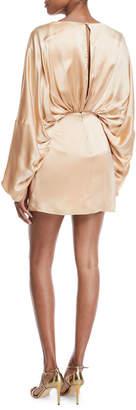Fame & Partners Charmian Satin Plunging Mini Dress