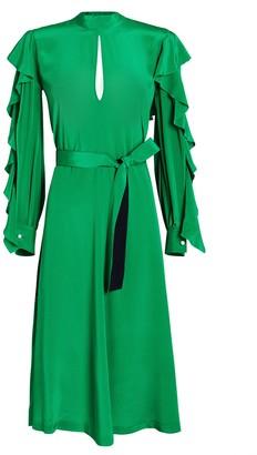 Golden Goose Chieko Crepe de Chine Ruffled Dress