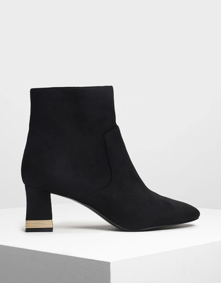 Charles & Keith Metallic Accent Heel Boots