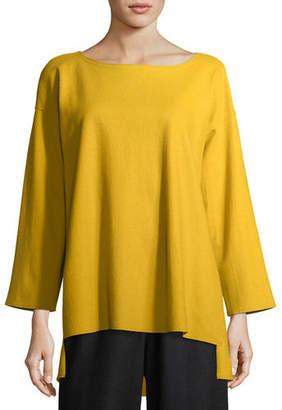 Eileen Fisher Bateau-Neck Boiled Wool Jersey Top, Petite
