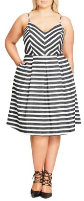 Plus Size Women's City Chic Marilyn Stripe Fit & Flare Sundress $99 thestylecure.com