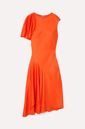 Thierry Mugler Asymmetric Draped Satin Midi Dress - Orange