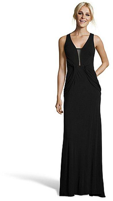 ABS by Allen Schwartz black stretch jersey sleeveless illusion gown