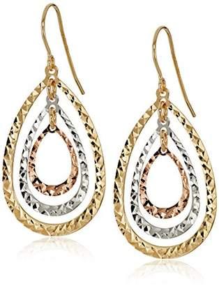 14k Tri-Color Diamond-Cut Drop Dangle Earrings