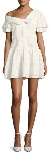Self-Portrait One-Shoulder Broderie Anglaise Mini Dress