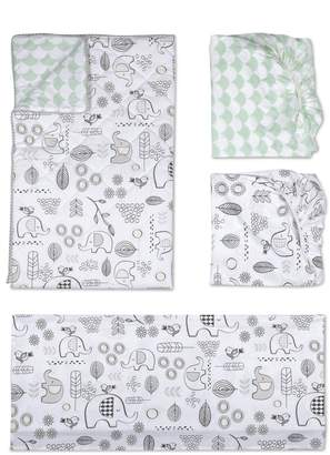 Living Textiles Elle Elephant 4-Piece Crib Bedding Set