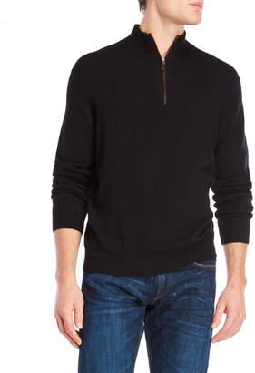 Forte Cashmere Mock Neck Quarter-Zip Cashmere Sweater