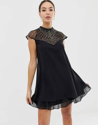 Lipsy chiffon swing dress with embellishment in black