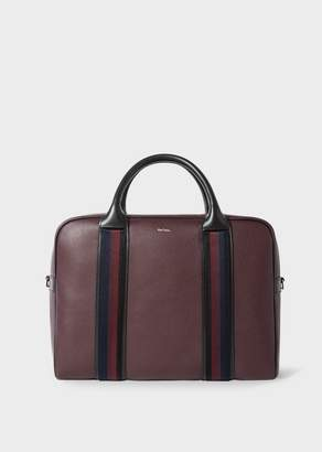 Paul Smith Men's Burgundy Leather 'City Webbing' Large Folio