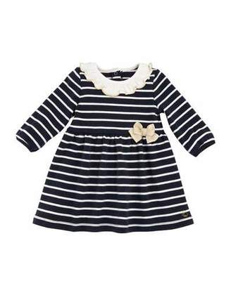 Petit Bateau Tarika Stripe Cotton Ruffle Collar Dress, Baby Girl Size 3-36 Months