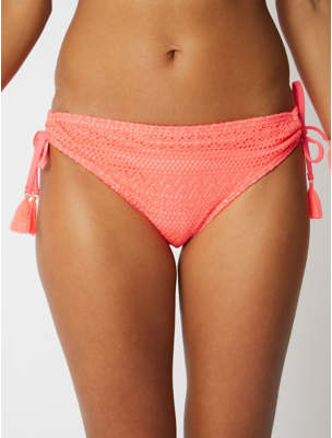 91f9d393533eb George Neon Coral Crochet High Leg Bikini Bottoms