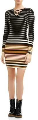 No Boundaries Juniors' Lace Up Stripe Sweater Dress