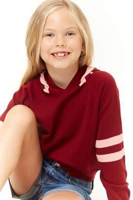 Forever 21 Girls Hooded Varsity Striped Sweater (Kids)