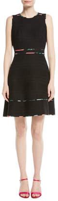 Kate Spade Sleeveless Blossom Trim Tweed Mini Dress