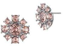Givenchy Hematite and Crystal Cluster Stud Earrings