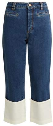Loewe High Rise Contrast Cuff Fisherman Jeans - Womens - Denim