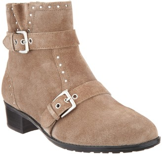Isaac Mizrahi Live! Leather or Suede Bootie w/ Buckle and Stud Detail