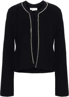 Maje Chain-embellished Cotton-blend Cardigan