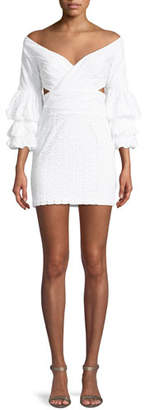 Fame & Partners The Brittany Eyelet Double Trumpet-Sleeve Mini Dress