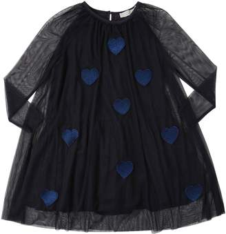 Stella McCartney Lurex Heart Patches Stretch Tulle Dress