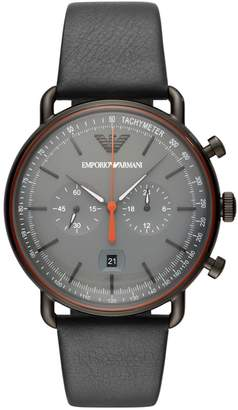 Emporio Armani Men's Chronograph Black Leather Watch