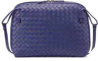 Bottega Veneta Intrecciato Small Zip Crossbody Bag, Cobalt Blue