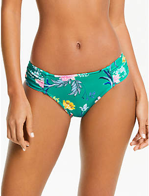 Seafolly Ruched Side Floral Print Bikini Bottoms, Evergreen