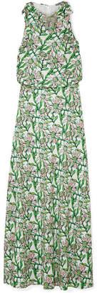 Dodo Bar Or Crystal-embellished Ruffled Floral-print Crepe Maxi Dress