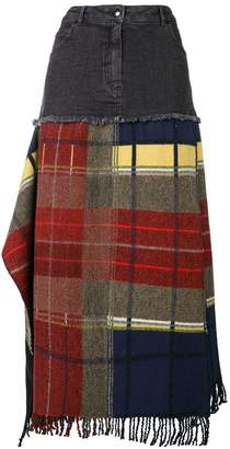 Sonia Rykiel fringed tartan and denim skirt