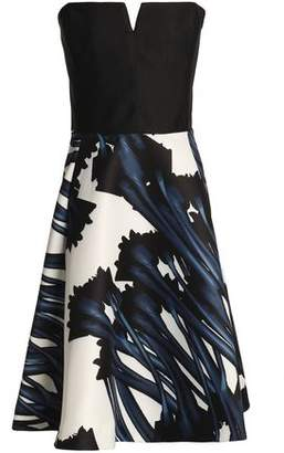Halston Strapless Floral-Print Twill Dress