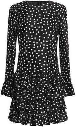 Dolce & Gabbana Ruffled Polka-Dot Silk-Crepe Mini Dress