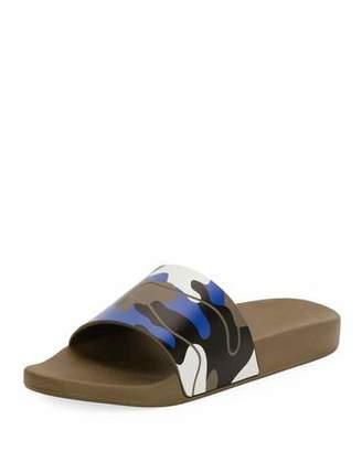 Valentino Men's Camo Rubber Slide Sandal, Green/Blue