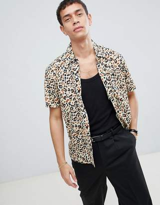 Bellfield Short Sleeve Shirt With Cheetah Print