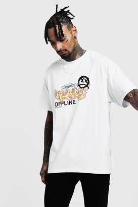 boohoo Oversized Graffiti Design T-Shirt