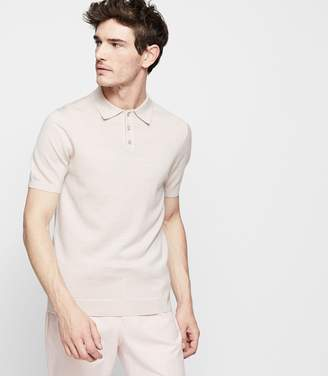 Reiss MANOR MERINO WOOL POLO SHIRT Stone