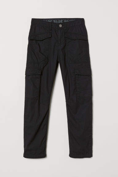 H&M - Jersey-lined Cargo Pants - Black