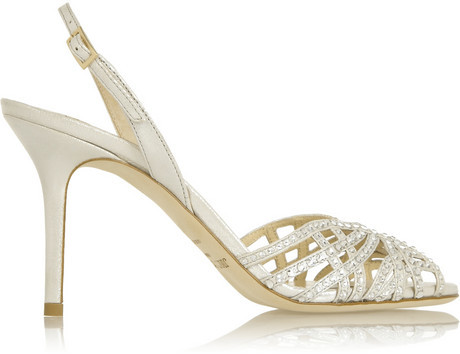 Jimmy Choo Anais embellished glitter-finished satin slingbacks