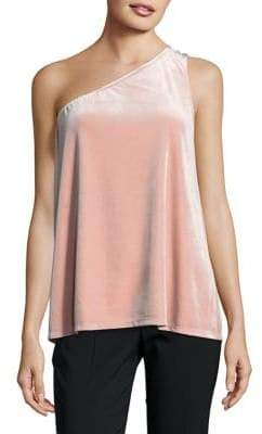 French Connection Aurore Velvet One-Shoulder Top