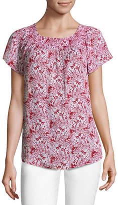 Liz Claiborne Short Sleeve Smocked Neck Top