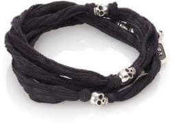 King Baby Studio Sterling Silver& Silk Skull Wrap Bracelet