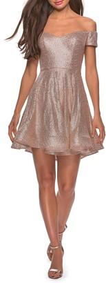 La Femme Off the Shoulder Sequin Cocktail Dress