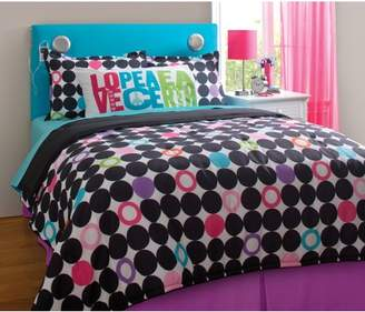 Your Zone your zone color block dot reversible bedding set with statement pillowcase