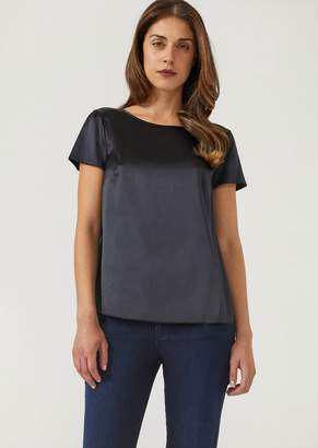 Emporio Armani Boat Neck Blouse In Silk Satin