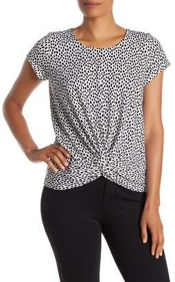 Adrianna Papell Dot Print Twist Hem Top